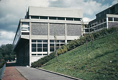 GKC/CSS/S/2 King's Park Secondary School, Glasgow - 1962 (Glasgow School of Art Archives & Library) Tags: trees windows architecture exterior glasgow bricks north masonry fences engineering architectural practice kidd schools kingspark bushes gillespie firm 1962 slope gkc modernist glasgowschoolofart gillespiekiddandcoia secondaryschool coia colourphotographs isimetzstein andymacmillan archivesandcollectionscentre gymnasiumblock workingarchive
