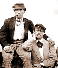 Two men in 1869 (newmexico51) Tags: old gay man men hat vintage foto pants affection bowtie cigar clothes jacket cap photograph tintype ferrotype mustache hombre caballero 1869
