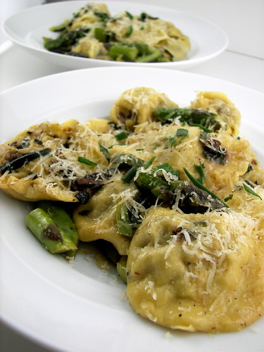Homemade Morel and Asparagus Ravioli