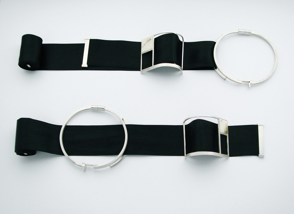 Silver bracelets with ribbons