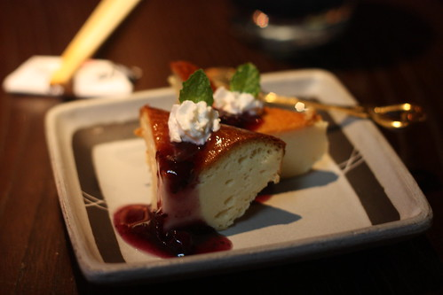 Baked Cheesecake with Blueberry Sauce