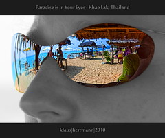 Paradise is in Your Eyes - Khao Lak, Thailand (farbspiel) Tags: ocean travel sea vacation holiday distortion color reflection tourism beach water sunglasses photoshop geotagged thailand photography nikon colorful asia southeastasia distorted journey handheld reflective nikkor tha khaolak settings workflow postprocessing 18200mm d90 processinginformation hdrprocessing topazadjust topazdenoise klausherrmann ramadaresortkhaolak nikonafsdxnikkor18200mm13556gedvr geo:lat=866197843 geo:lon=9824618340 hdrpostprocessing