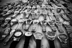 What's the time? (poisoned ivy) Tags: old blackandwhite vintage singapore king watches bicycles card greyscale streetvendors streetsellers