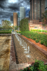 Discovery Green Fountain (Terry G Alexander) Tags: park city sculpture monument water fountain architecture downtown texas houston hdr highdynamicrange outdoorart photomatix grb georgerbrown handheldhdr discoverygreen