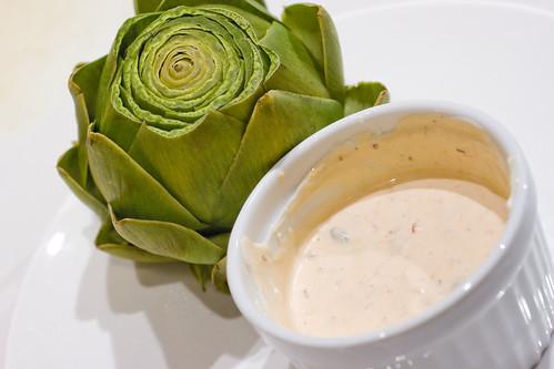 Artichoke with Creamy Caper Dip
