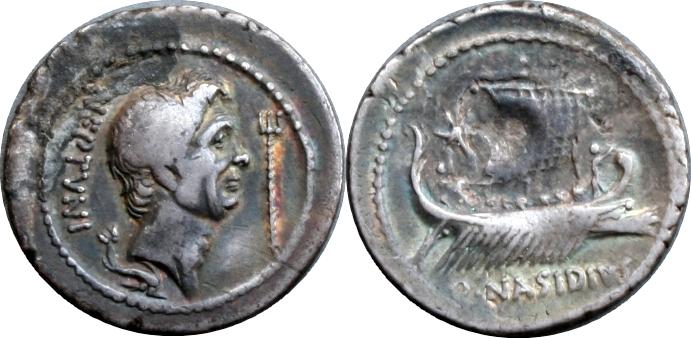 483-02-9729-34-Q.NASIDIVS Pompey Sextus Pompeius Galley under sail Denarius