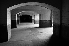 Passageway (chad_k) Tags: sf sanfrancisco california shadow blackandwhite bw northerncalifornia blackwhite arch arches goldengate fortpoint nocal norcal passage passageway goldengatenationalrecreationarea