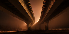 Foggy bridge (kote_bu) Tags: city bridge winter light snow fog night nightlight myst kazan foggybridge nightrides