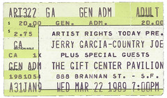 ticket for Artists Rights Today benefit with Jerry Garcia, Bob Weir, John Kahn (and Country Joe McDonald) - Gift Center, San Francisco, 3/22/89