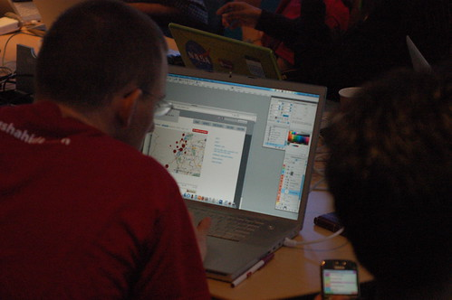 Caleb hacking a newer design for Ushahidi