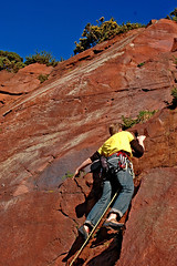 Still quite a way to go (gornabanja) Tags: uk november red nature up sport yellow rock stone shirt fun outdoors scotland nikon edinburgh december colours d70 action bluesky climbing colourful rockclimbing lead quarry niceweather goodweather inthelead colourartaward