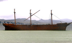 The wreck Lady Elizabeth with Tumbledown Mountain visible behind the main mast