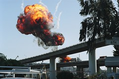 Go Boom (djspyhunter) Tags: sf road city film set truck fire nbc tv highway san francisco fuji shot superia flames explosion overpass boom freeway oil soma filming pilot fireball tanker trauma i280 160s lazgrove