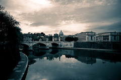 Rome and Tevere (Fotis ...) Tags: bridge roof italy rome reflection clouds landscape tiber tevere stpeter platinumheartaward