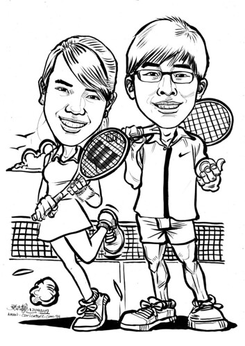 Couple caricatures Tennis A4
