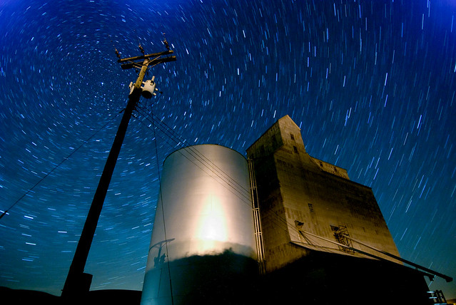 Star trails and grain elevator