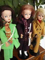 Three Sindies in trousersuits (seejanerunning) Tags: doll sindy sidepart