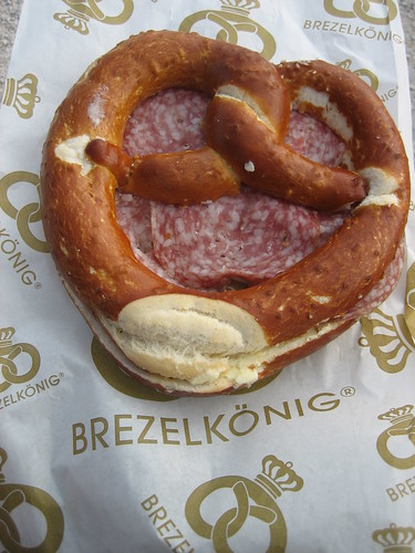 Buttered Pretzel with Salami