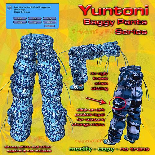 YUNTONI Camouflage Baggy Pants