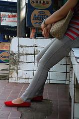 waiting at a Jakarta bustop