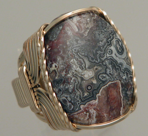 Wire Wrapped Mens Crazy Lace Agate Ring