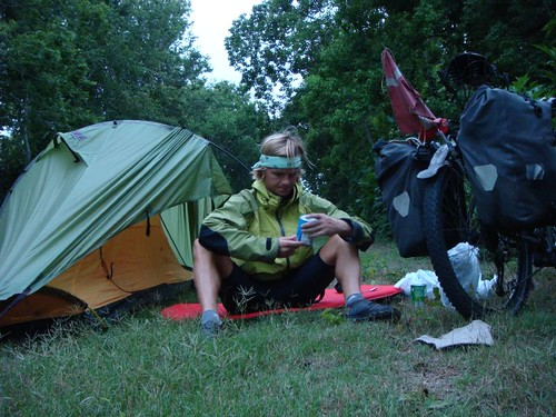 Wild camping and eating from the can in Patterson, Louisiana.