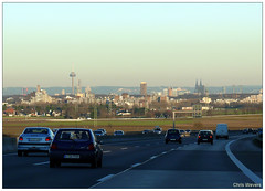 Cologne viewed from the A4 (Chris Wevers) Tags: skyline germany deutschland cologne autobahn kln panasonic nrw nordrheinwestfalen dmc fz50 northrhinewestphalia rheinruhr rhineruhr chriswevers