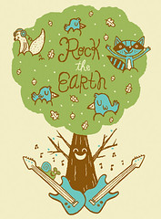Rock the earth tee illustration 2 (tad carpenter) Tags: new rock illustration silkscreen owl tad teeshirt carpenter rocktheearth