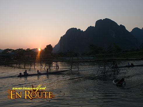 Vang Vieng River and Karst Sunset