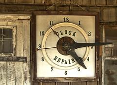 Clock Repair (FotoEdge) Tags: wood clock sign liberty hands ancient notice time antique cancer rusty mo numbers missouri repair worn ash kc addiction crusty tar kcmo nicotene fotoedge clockrepair