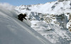 A skier shreds a powdery steep at Valle Nevado
