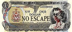 no escape (andres musta) Tags: money art halloween bill sticker stickerart funny zombie stickers dollar squad adhesive andres zas musta munny zombieartsquad