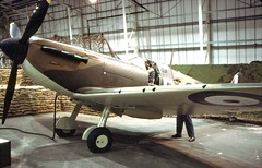 Supermarine Spitfire (D70) Tags: england london film museum 35mm canon lens nikon december scanner north 21st royal slide 64 scanned spitfire kodachrome fe airforce 1979 canoscan aerodrome supermarine colindale 8600f hendons