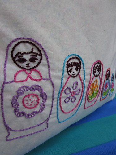 Embroidered Matryoshka Russian dolls Carry-all tote! (close up)