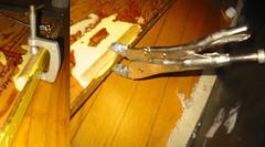 20090124 - party prep - artwork - 175-7530-diptych-175-7531 - Clampy McClampsALot (Rev. Xanatos Satanicos Bombasticos (ClintJCL)) Tags: wood alexandria shoe virginia diptych glue vice upstairs moulding 2009 tool clamping 200901 woodglue vicegrip clintandcarolynshouse 20090124 shoemoulding