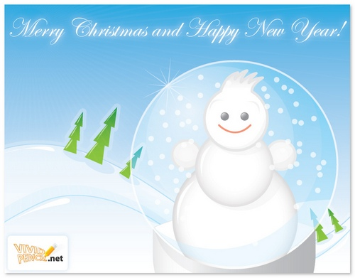 Greeting Card Template with a Snowman