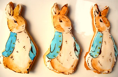 Peter Rabbit Cookies (neviepiecakes) Tags: peterrabbit handpainted fondant vanillacookies storycharacters beatrixpotterchildrensbook