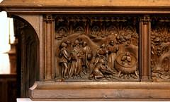 Kalkar, Nicolaikirche, Marienaltar, predella, left panel (groenling) Tags: wood rome saint john carving torture oil nrw johannes holz rom rheinland boil nicolaikirche heilige kalkar martyrdom marienaltar predella portalatina sainmarysaltar juppan lkessel