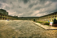 Piece Hall (Simon Grubb) Tags: uk england sky west clouds photoshop canon buildings dark eos hall day outdoor yorkshire sigma piece halifax 1020mm cobbles hdr vast photomatix 40d