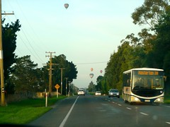 bus and balloons (Brenda Anderson) Tags: morning newzealand sky bus outside highway balloon flight nz balloonfiesta aotearoa breezy wairarapa curiouskiwi:posted=2009