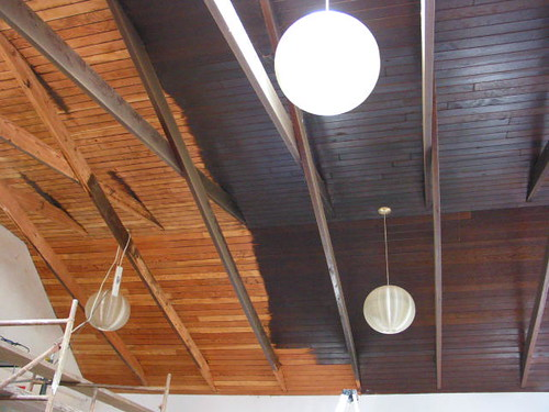 Ceiling, before and after sanding...