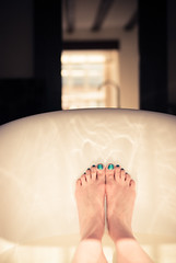 Bliss (Ly (Lyanne Wylde Photography)) Tags: uk feet beach window water reflections mirror bath polish taps beams rimmel footporn marh09 ihadtwobathseveryday hahaletsseehowmanyhitsthatgets