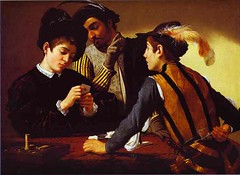 Caravaggio (1571-1610) - 1594-95 The Cardsharps (RasMarley) Tags: italian interior group chiarascuro painter baroque groupportrait caravaggio backgammon realism 16thcentury 1594 1590s thecardsharps