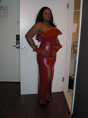 Sexy Red Latex Gown (Blkvelvet99) Tags: fetish latex domme pvc bigboobs redlatex latexgown blackwhitepic