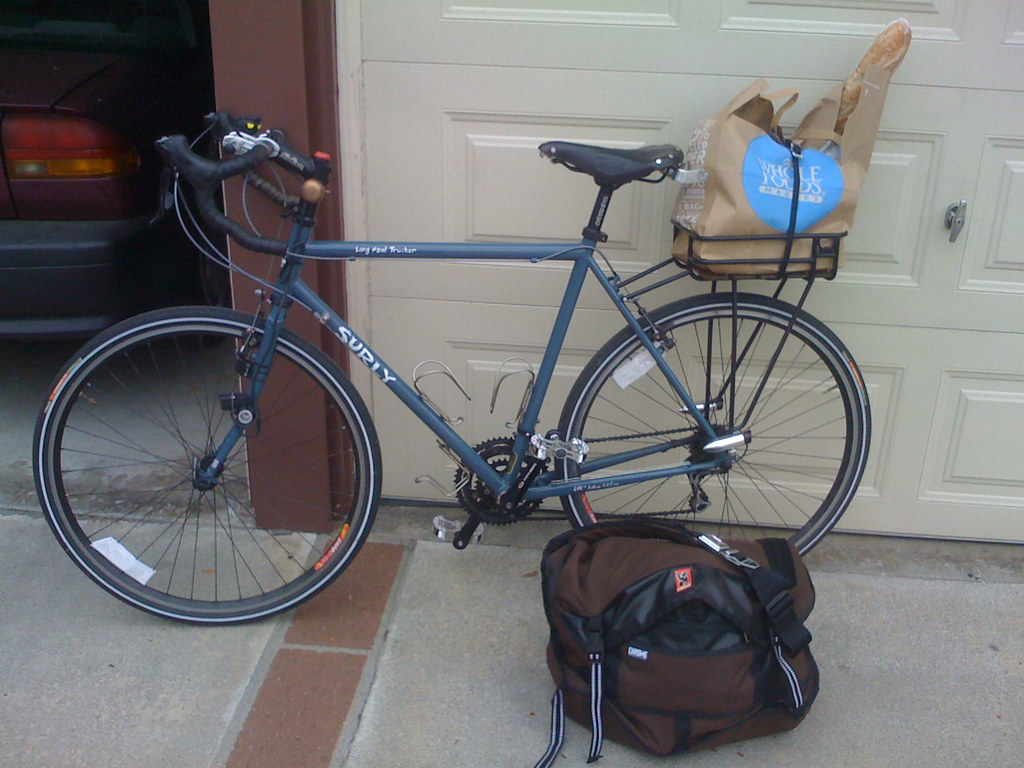 Bicycle with load & full messenger bag