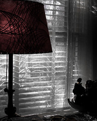 It was a Dark and Sunny Afternoon (prima seadiva) Tags: shadow lamp noir blinds