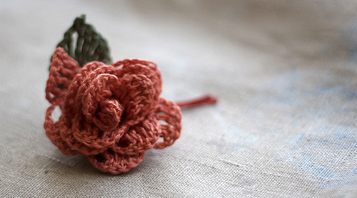 Linen flower hairpin