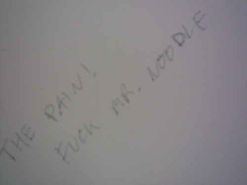 Someone wrote on the wall of toilet