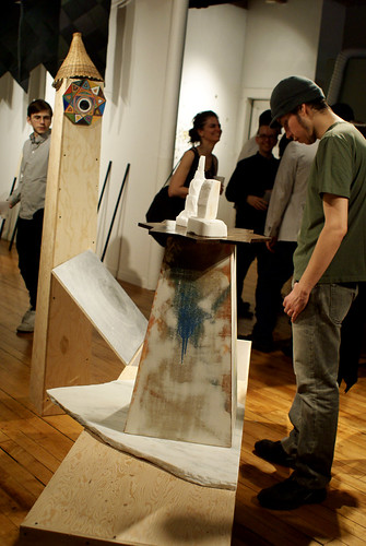 Viewing a sculpture by Ryan Fenchel. Photo by Paul Germanos