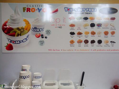 Yoh-gurt Froz menu board